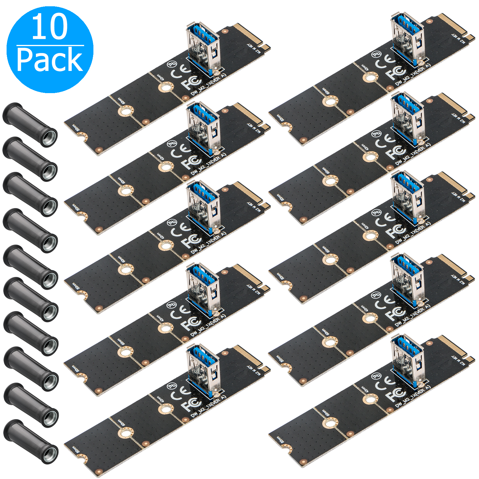 1//2//5//10x M.2//NGFF to USB3.0 PCI-E X16 Converter Graphic Card Extender Panel