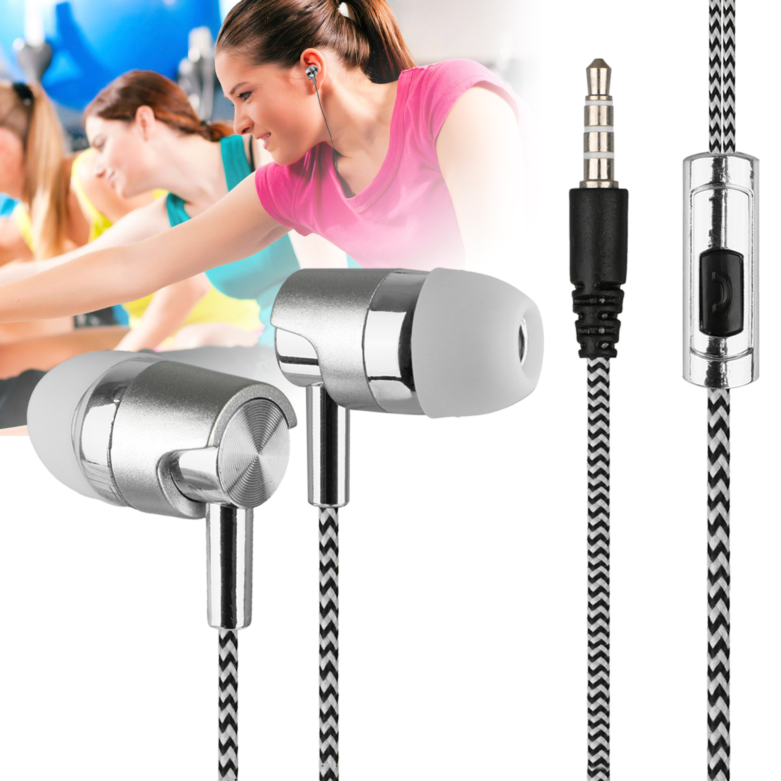 Sport Metal Headphone In-Ear Stereo Headset Hand-Free Bass Earbuds with Mic