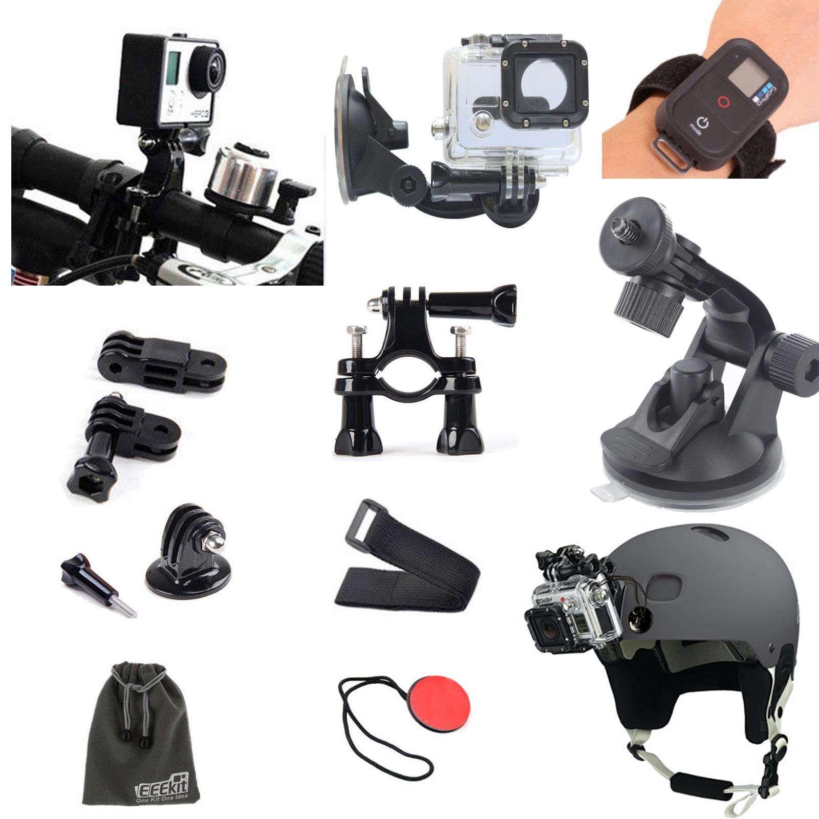 EEEKit GoPro HD Hero 3+/3/2 Camera, Car Holder+Bike Handlebar Mount+Wrist Strap