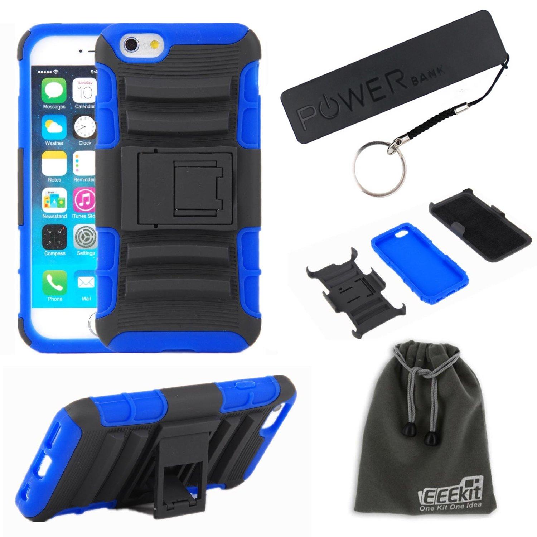 EEEKit 3in1 Kit for Apple iPhone 6 5.5 Hybird Belt Clip Holster Cover Case+Portable Power Bank+EEEKit Pouch