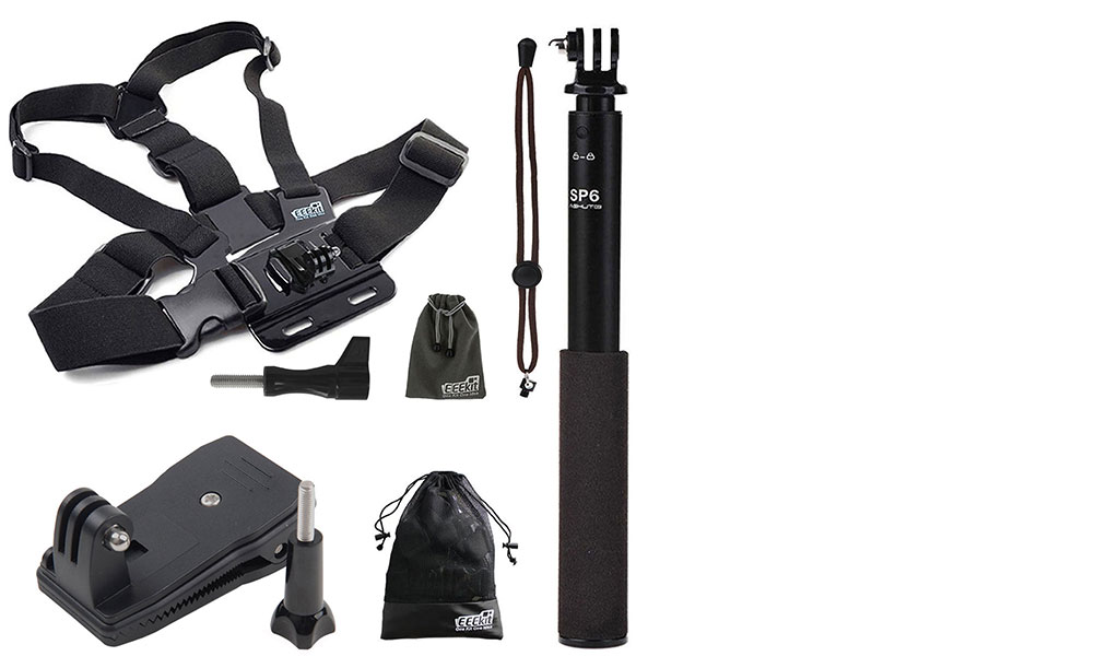 eeekit extention selfie stick monopod chest harness clip mount for action camera ebay. Black Bedroom Furniture Sets. Home Design Ideas