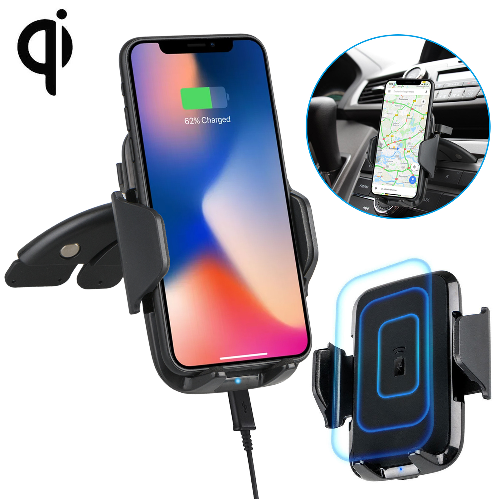 fast qi wireless car charger cd slot mount holder for. Black Bedroom Furniture Sets. Home Design Ideas