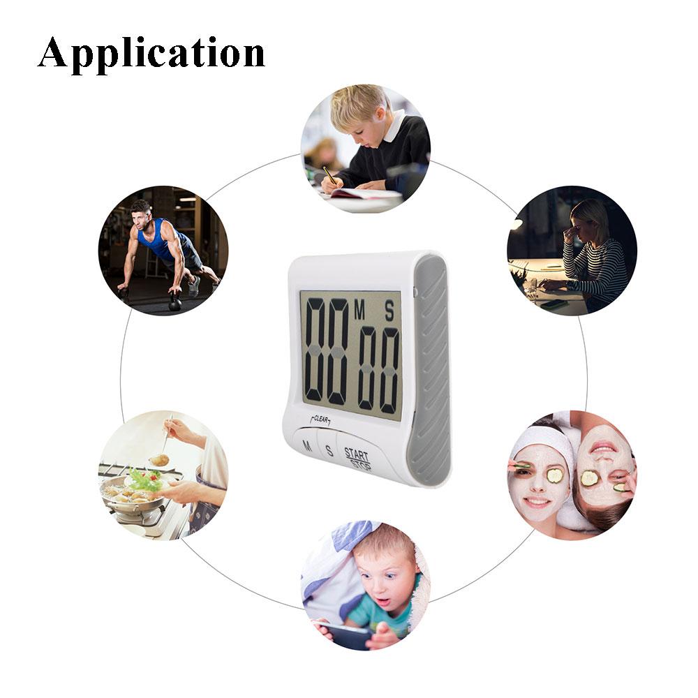 Digital Kitchen Timer Stopwatch,LCD Display Digits,Loud Alarm ...