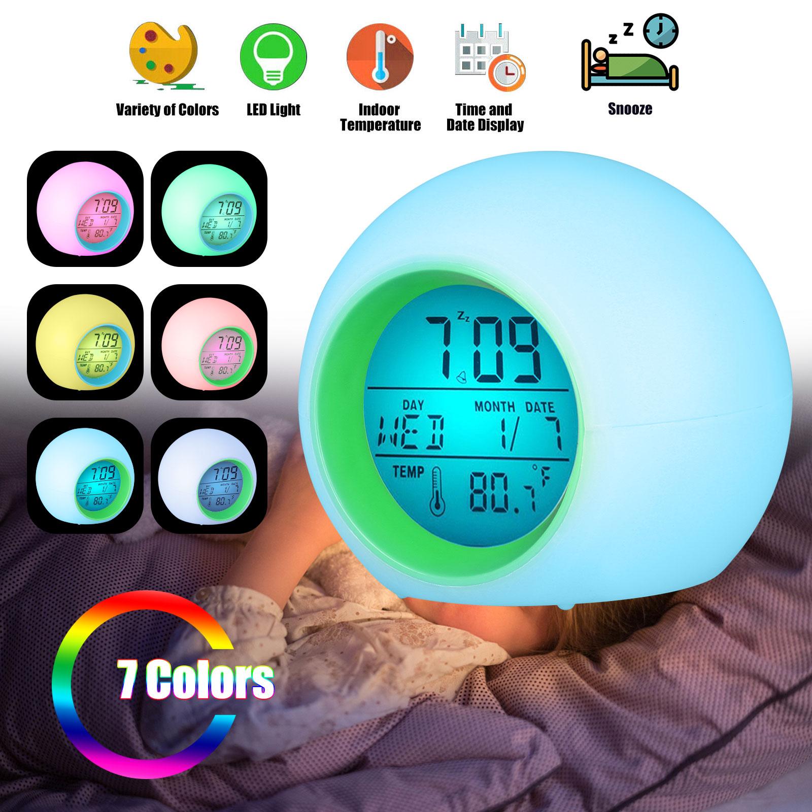 LED Kids Digital Alarm Clock 7 Color Night Light Change Cale