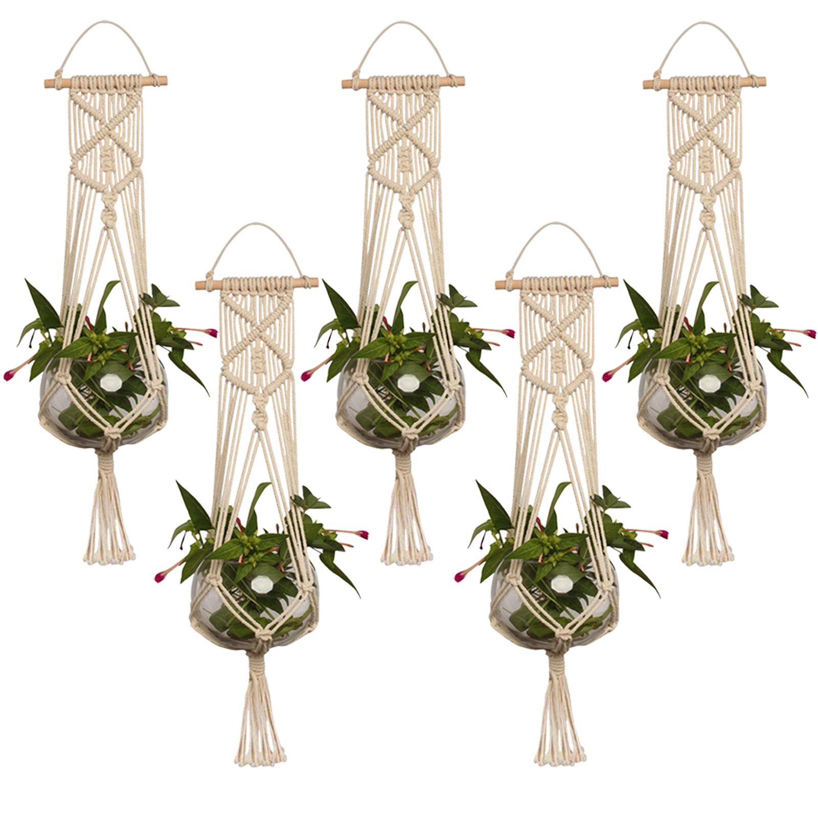 Pot-Holder-Macrame-Plant-Hanger-Hanging-Planter-Basket-Jute-Rope-Braided-Craft thumbnail 13