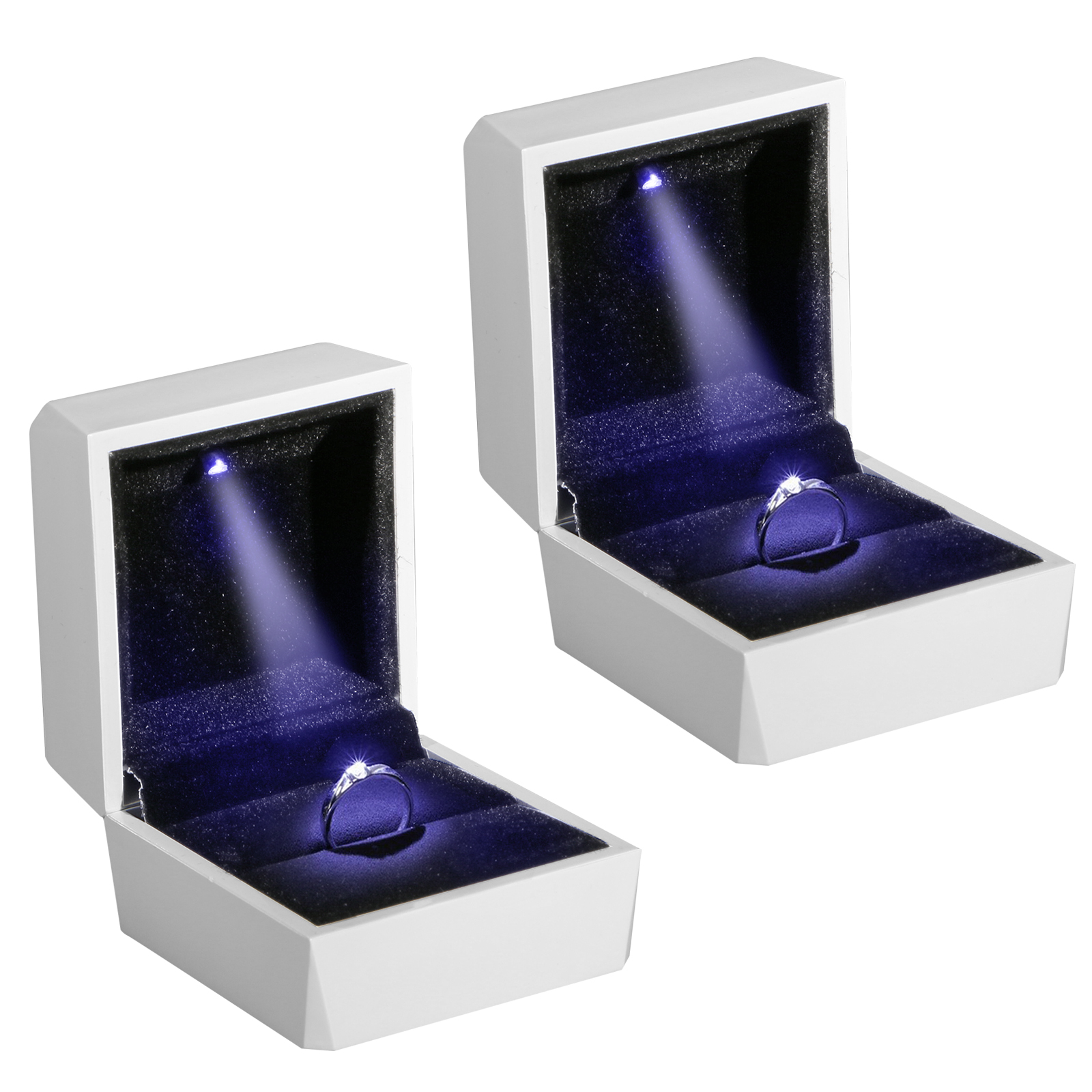 Diamond Ring Box White Led Light Velvet Jewelry Gift