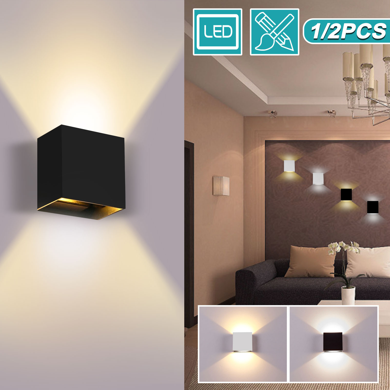 Cube LED Wall Lights Modern Up Down Sconce Lighting Fixture