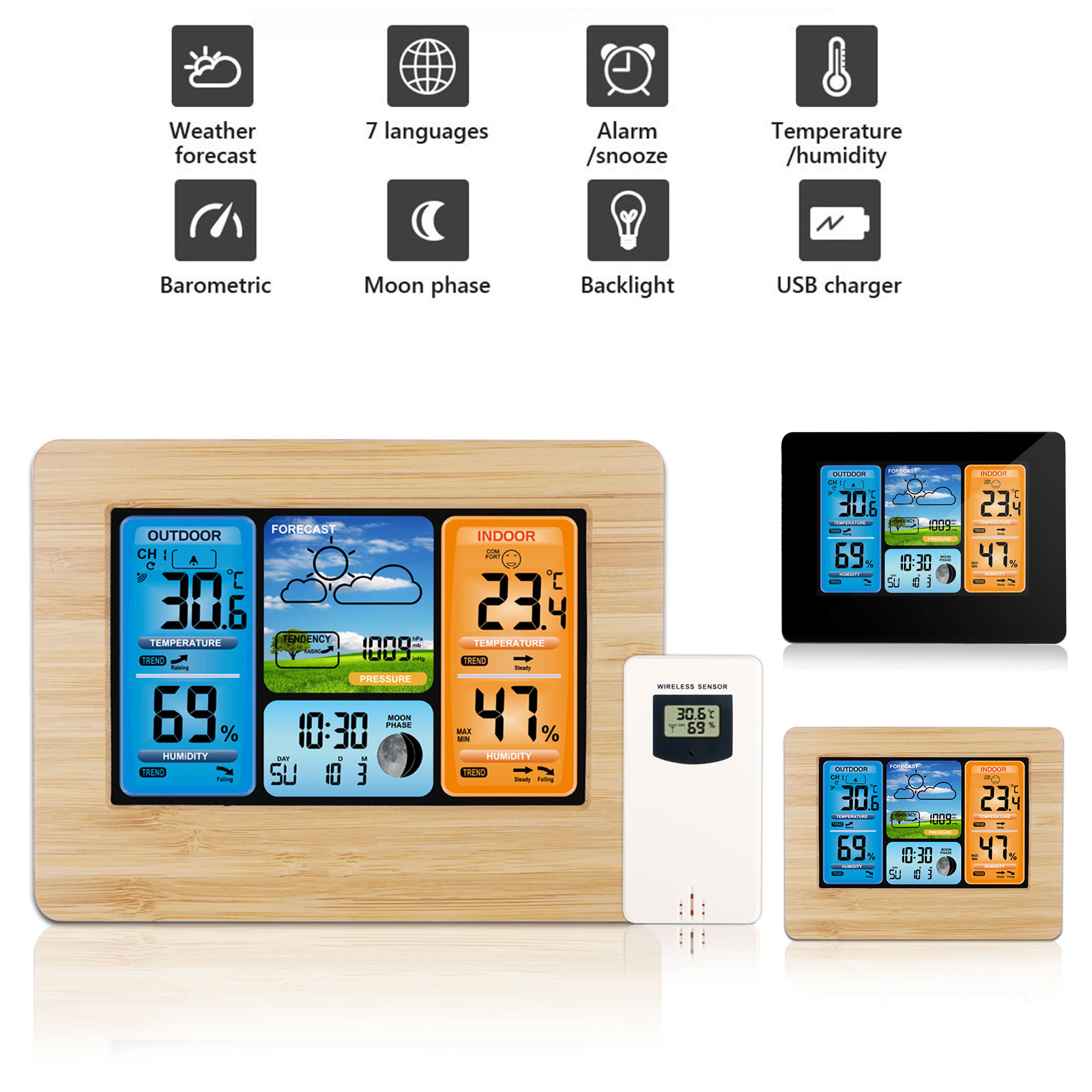 Wireless Weather Station Color LCD Digital Outdoor Indoor Th
