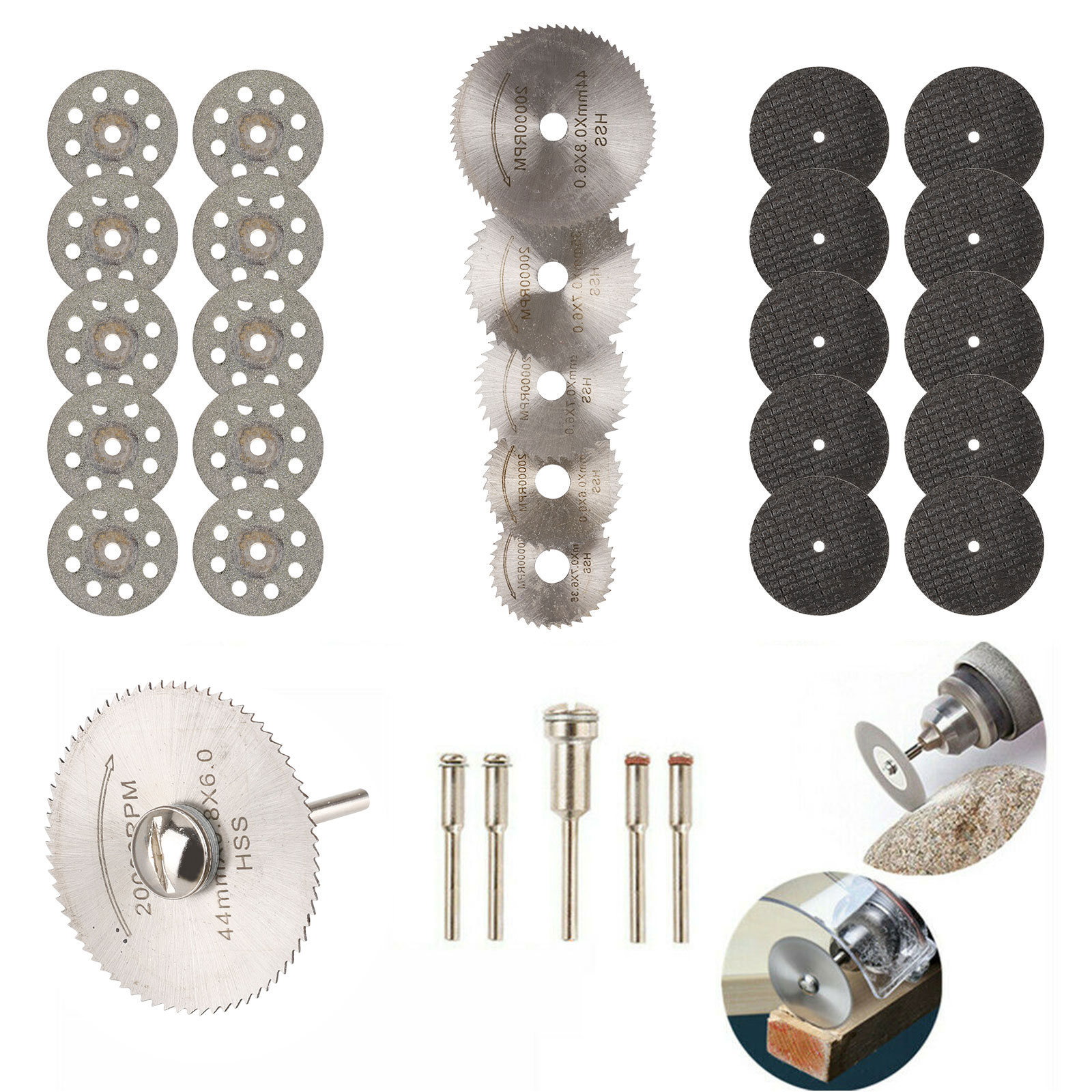 30Pcs Cutting Wheel Set for Mini Drill Dremel Rotary Tool Accessories w// Mandrel