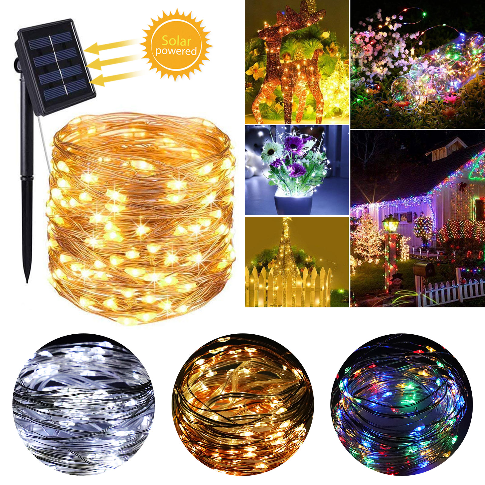 100/200 LED Solar Fairy String Light Copper Wire Outdoor Wat