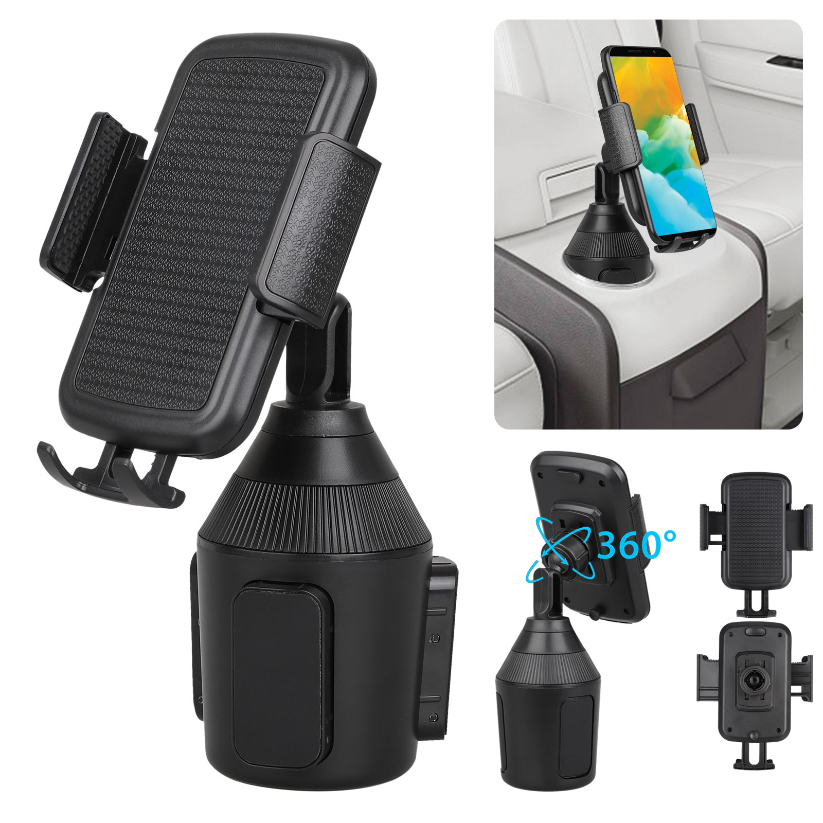 Adjustable Cup Holder Car Mount for iPhone Cell Phone Univer