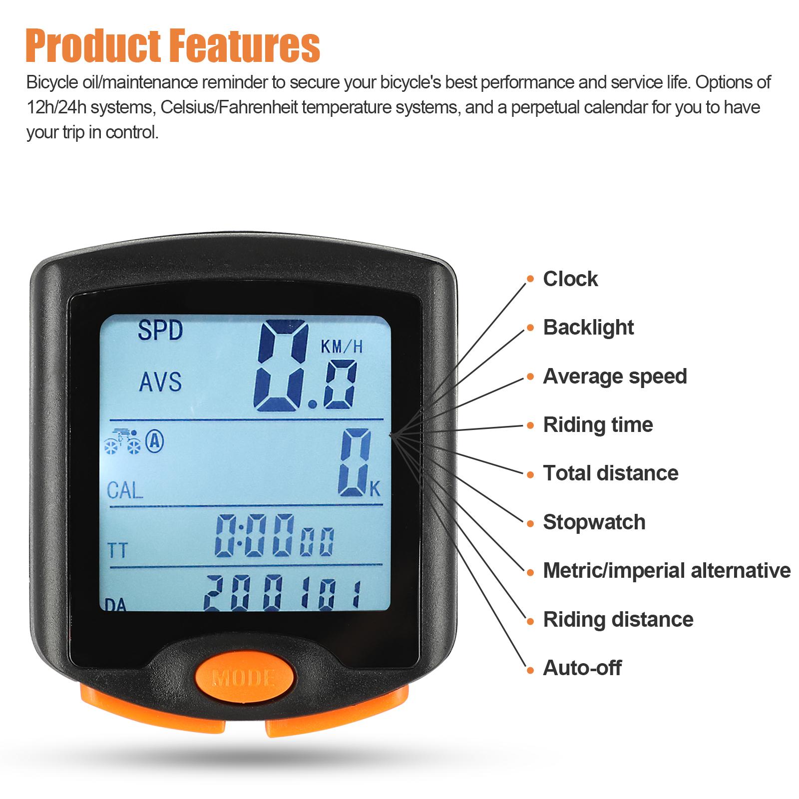 thumbnail 18 - Waterproof-Wireless-Bicycle-Bike-Cycle-LCD-Digital-Computer-Speedometer-Odometer