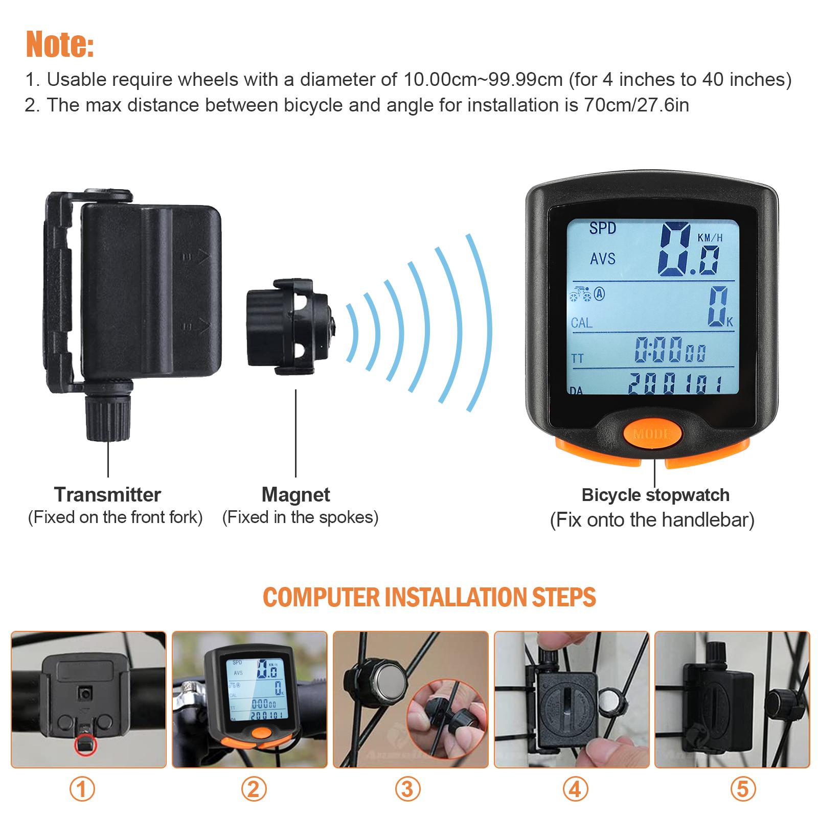 thumbnail 21 - Waterproof-Wireless-Bicycle-Bike-Cycle-LCD-Digital-Computer-Speedometer-Odometer