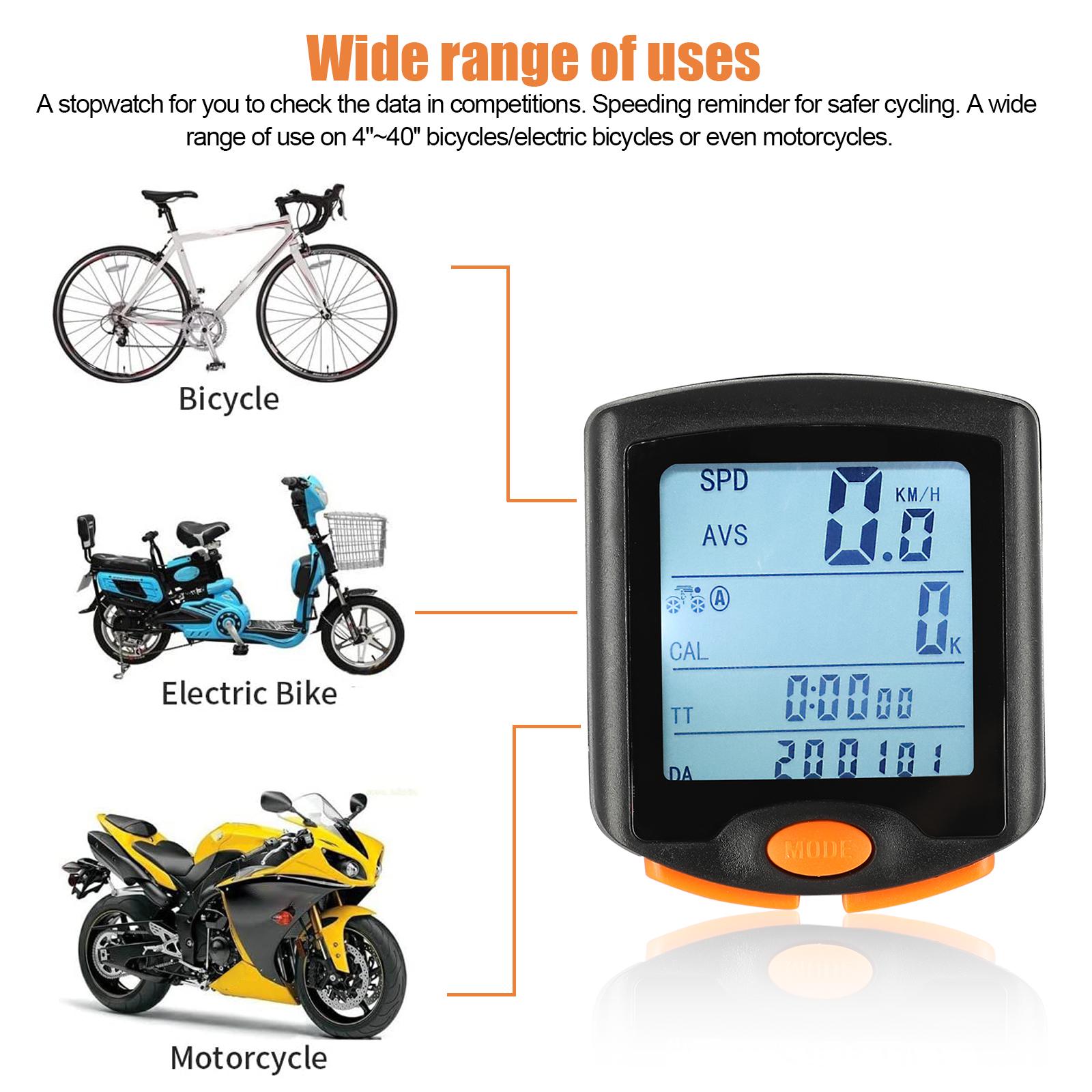 thumbnail 22 - Waterproof-Wireless-Bicycle-Bike-Cycle-LCD-Digital-Computer-Speedometer-Odometer