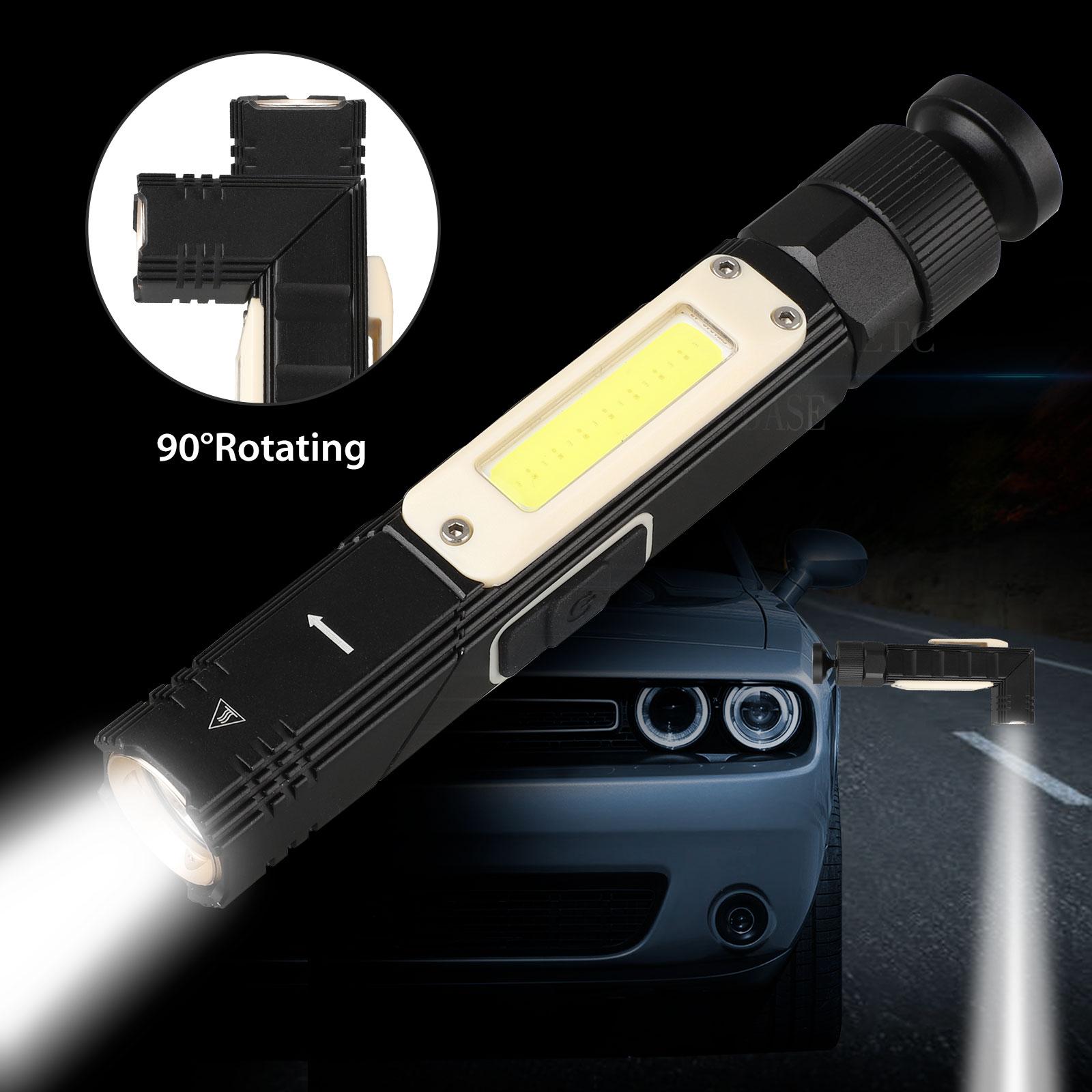 Mini USB Rechargeable LED COB Flashlight Magnet Work Light L