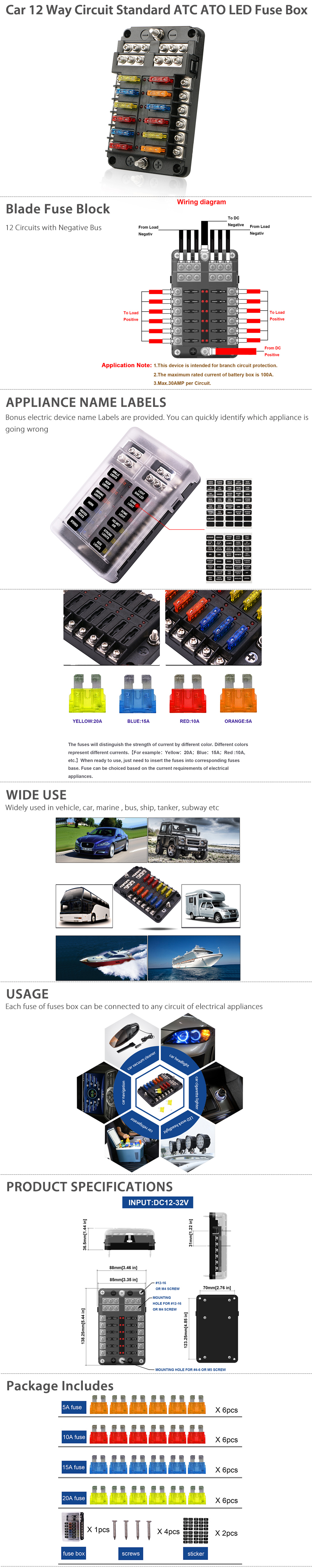 Universal Auto Car 12 Way Blade Fuse Standard Circuit Holder Box 30 Amp Screw In Current Rating Per Max 100 Volt 32v Dc Dimension 55 X 34 16140 85
