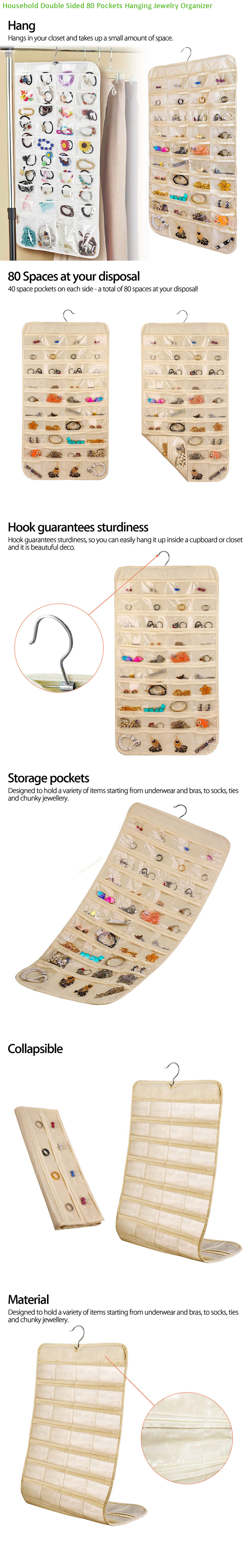 80 Pocket Hanging Jewelry Organizer Storage for Holding Earring