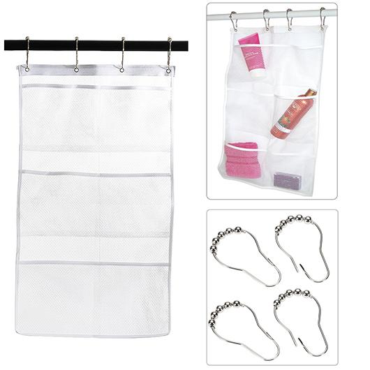 Green 6-Pocket Shower Organizer Bathroom Caddy Tub Hanging Mesh Storage Bag
