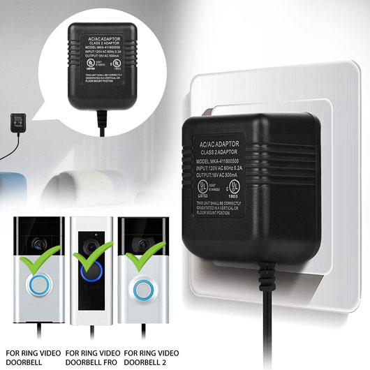 Power Supply Adapter Transformer W// 5M Wire For Video Ring Doorbell 1//2//2 Pro