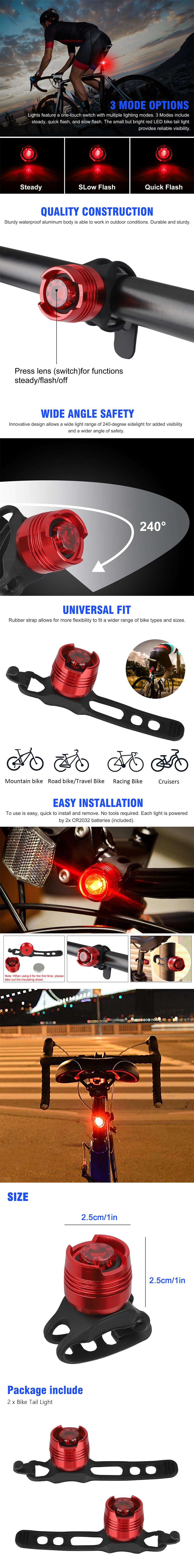 3 Mode Bike Tail Light Bicycle LED Safety Rear Lamp Flashing Taillight lot