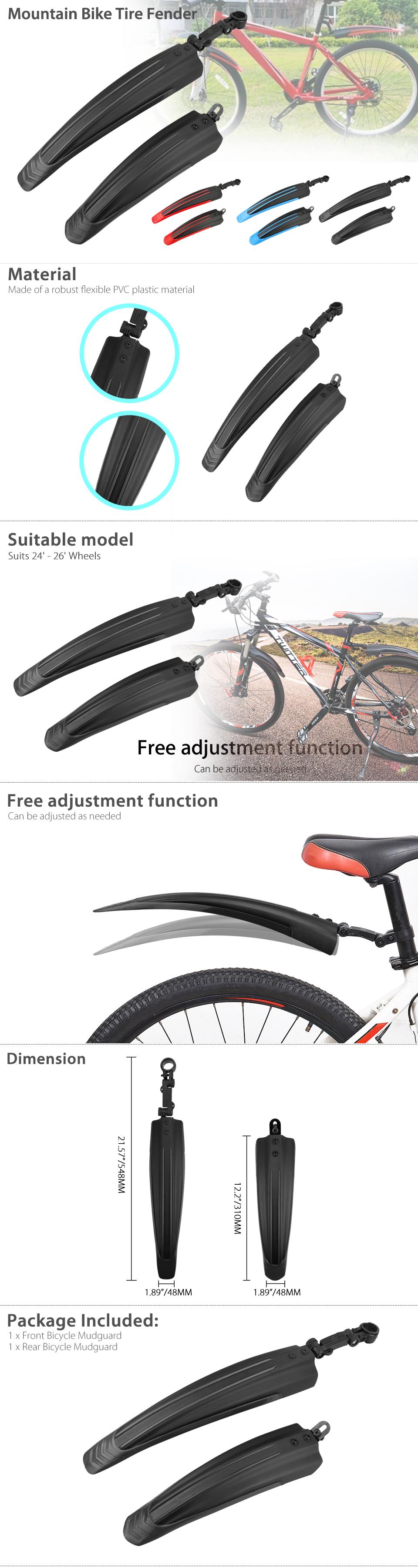 Bicycle Mountain Bike Front /& Rear Mudguard Set Flexible PVC Plastic Cycling